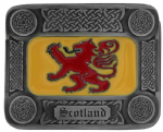 Scotland Lion Rampant Flag Celtic Belt Buckle with display stand. Code KK3
